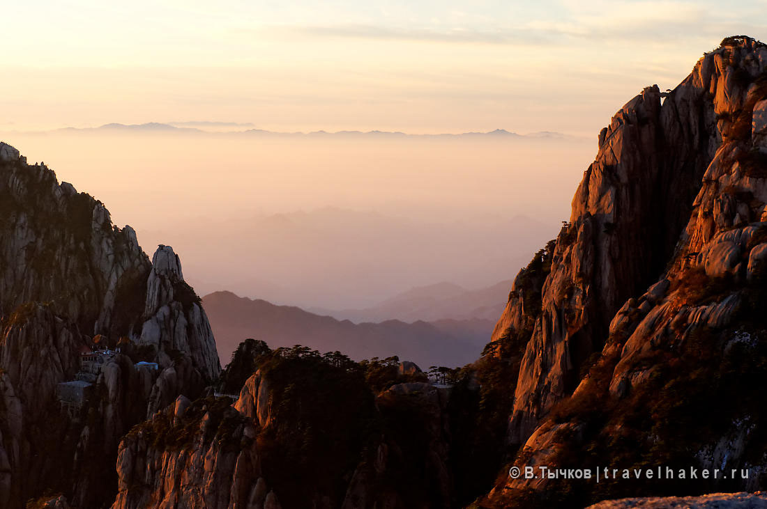 рассвет на горе хуаншань - китай