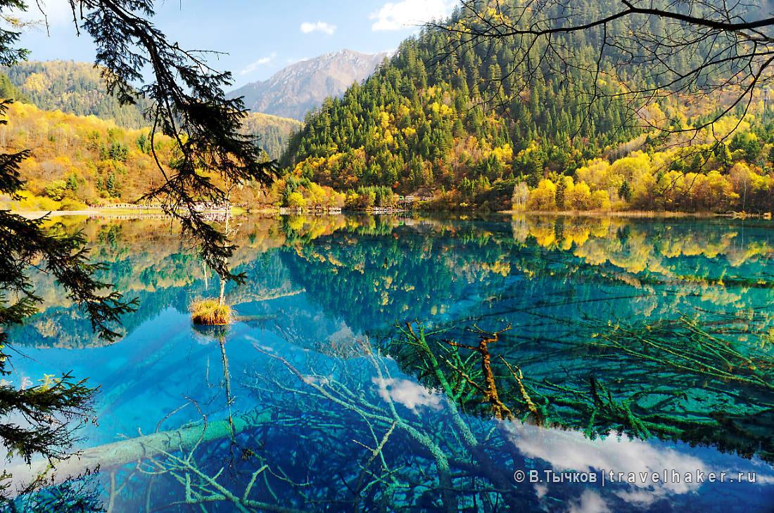 цзючжайгоу осенью национальный парк в китае. осенью лес и озера цзючжайгоу особенно прекрасны