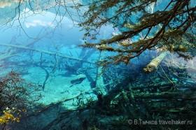 голубая вода в озере в цзючжайгоу