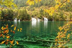 зеленое прозрачное озеро в цзючжайгоу китай